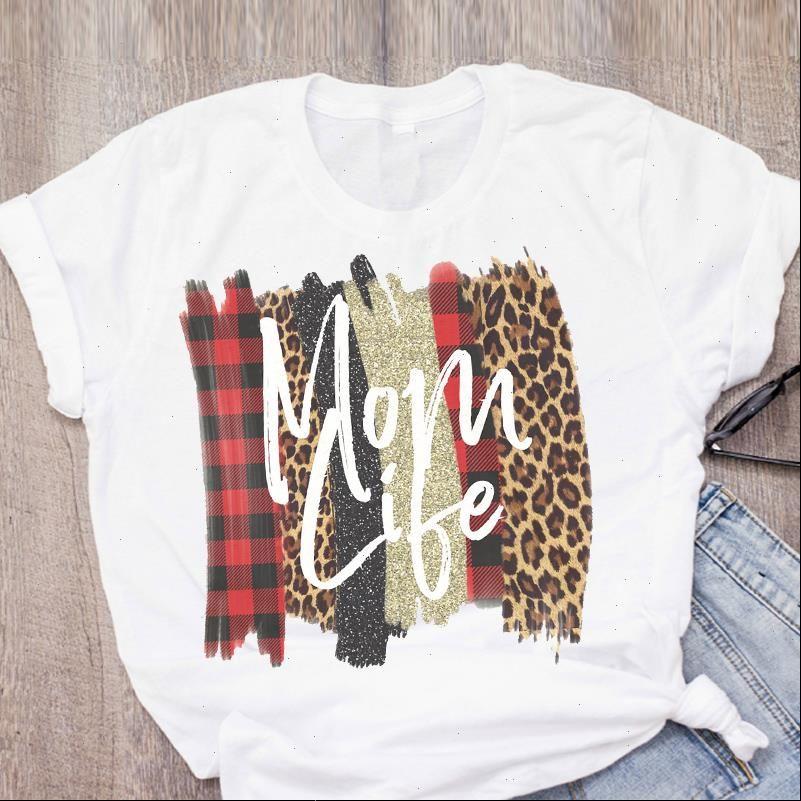 Mulheres Mulheres Tops Casuais Mama Leopard Moda Moda Mães Dia Verão Lady Girl Roupas Camisa Tees Feminino T