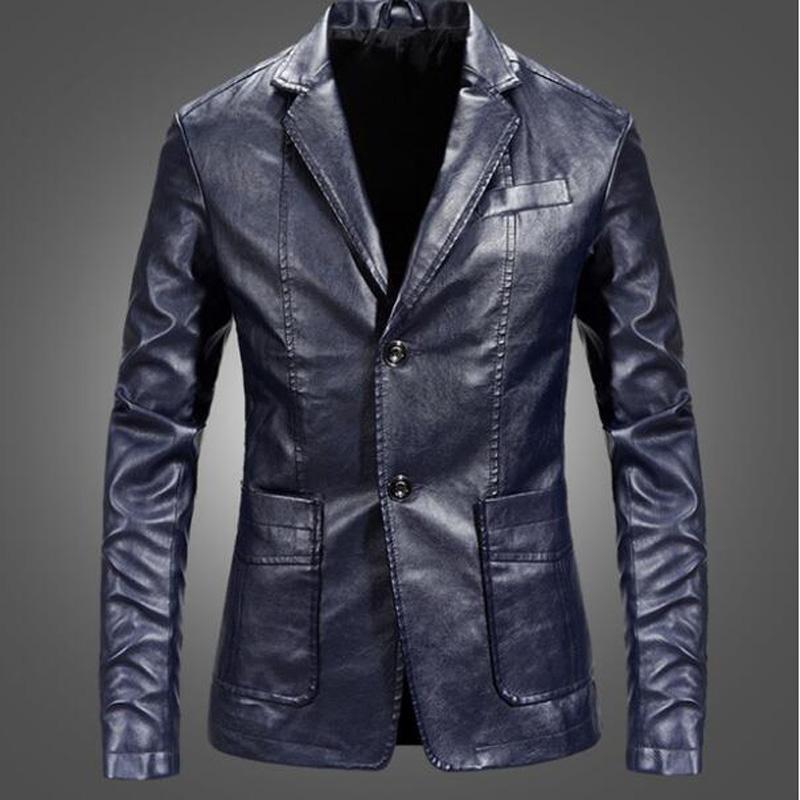 Blazer in pelle PU Blazer da uomo Casual Mens Suit Giacca Casual Slim Motociclo in ecopelle Vestito Hommme Costume