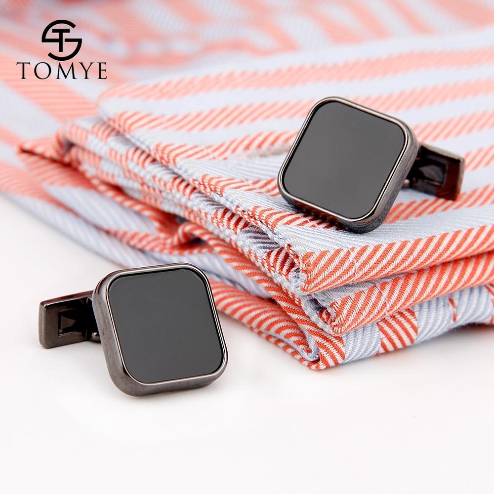 أزرار أكمام للرجال Tomye XK19S087 سوداء سكوير بريميوم عالية المينا قميص الكفة