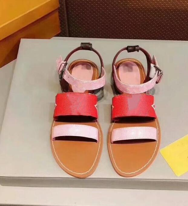Pisos de mujer de moda zapatos de cuero reales sandalias femeninas Peep Toe Sandalia L32917