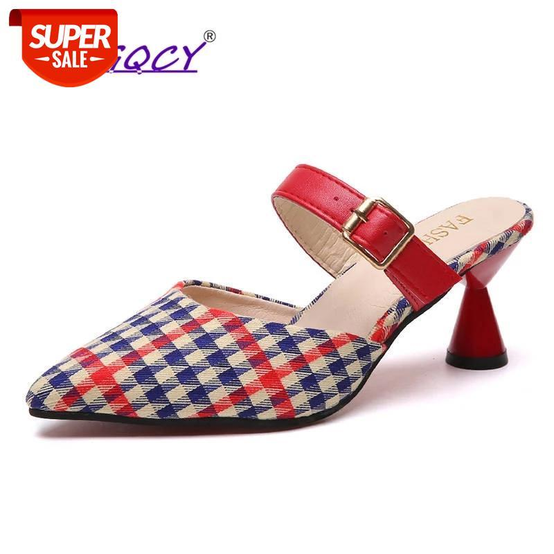 Pointed Toe Spike heels High Mules sandals women 2019 spring summer shoes Fashion Gingham Buckle Strap female #gb3z