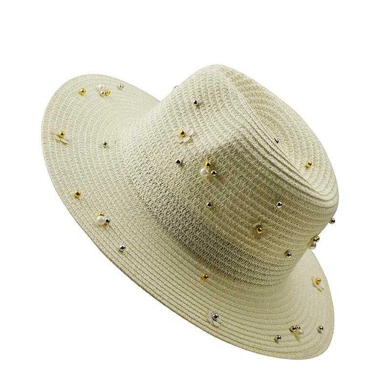 Sombrero de verano con sombrero de perlas británica con abalorios plana de paja de paja de lady playa ancha sombreros