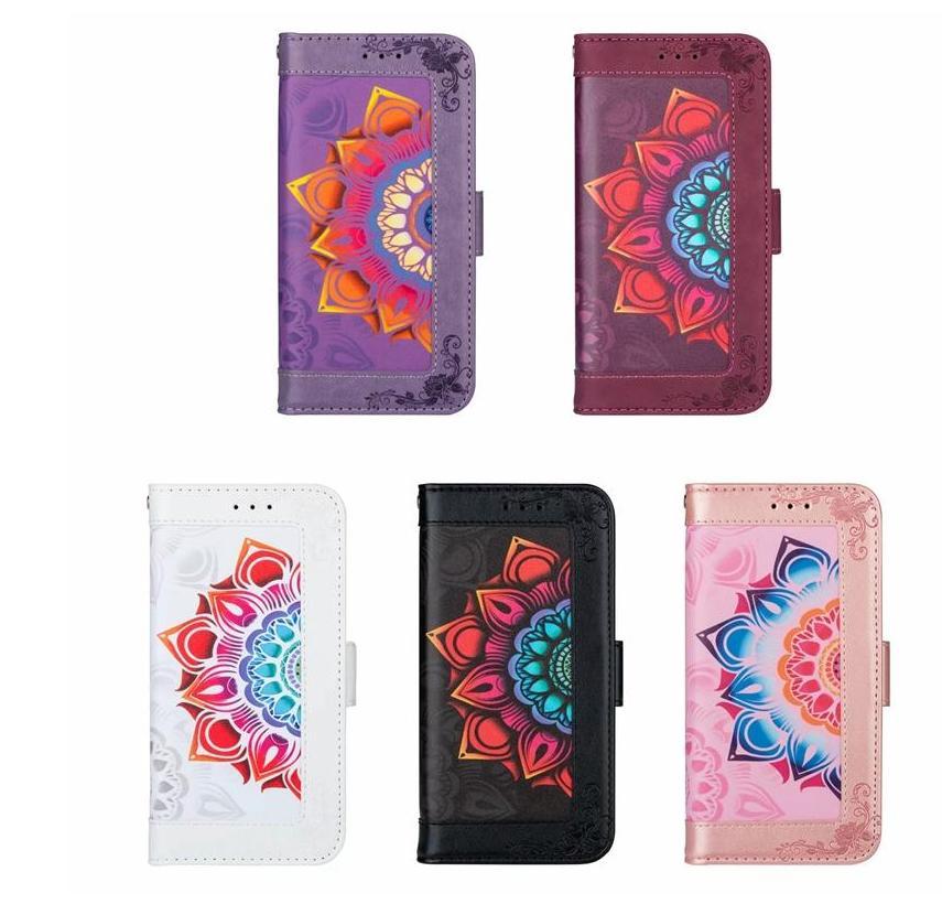 Casos de couro multifuncionais para Samsung A21S A31 A10S A10E A41 A21 A81 A51 A51 A71 5G 4 cartões Slot ID Datuura Flower Cover