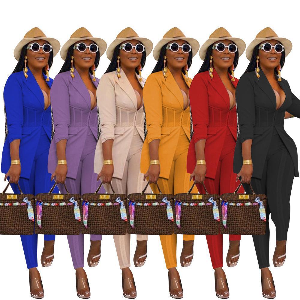 النساء قطعتين مجموعة الحلل الدعاوى مع السراويل السراويل الخريف الأزياء الصلبة اللون سترة شير شبكة المرقعة مكتب سيدة السترة S-XXL