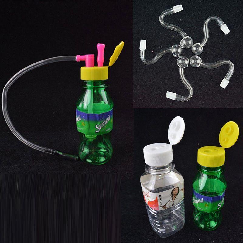 Mini Taşınabilir Plastik Tütün Şişe Borular Taşlı Recycler Bubber Teslimat Aksesuarları Bongs 10mm Ortak Sigara Boru Su Oil Teçhizat Cam Kaseler Nargile