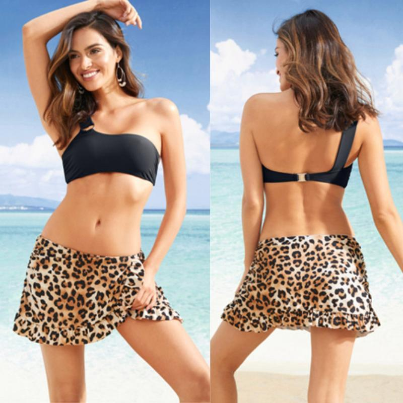 Women's Swimwear Leopardo Cobertura de Mulheres Saia Curto Beach Vestido Sunscreen Nadar Bikini Cover-Ups Beachwear Tankini Bottom