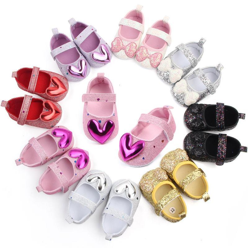 First Walkers Born Toddler Girl Shoes Fashion Sequined Princess Baby Love Bowknot 2021 0-2 Year Old Infant