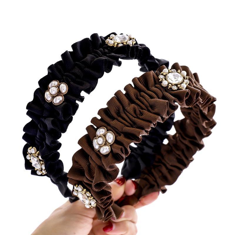 Moda de color sólido plisado diadema diamante perla perla horquilla cabello accesorio de pelo señoras clásico elegante flor tocado