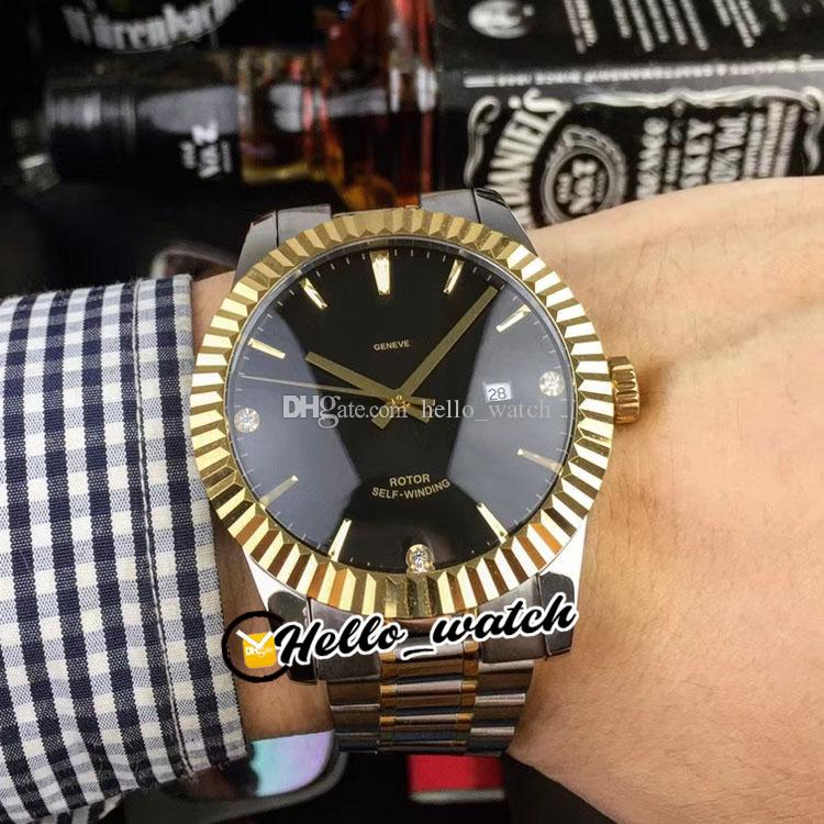 41mm M12713-0011 12713 Gents Watches Black Dial Asian Automatic Mens Watch Diamond Stick Markers Dos tonos Gold Steel Pulsera HWTD HELLO_WATCH