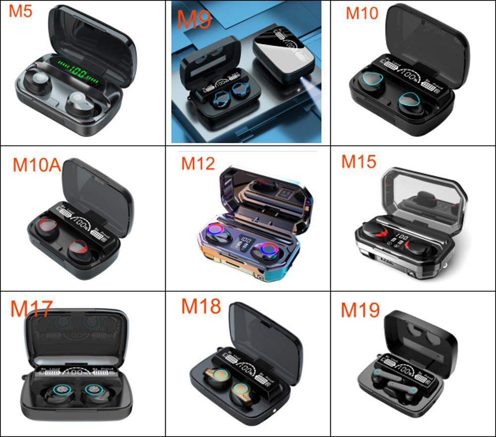 M Series TWS Bluetooth наушники беспроводные наушники стерео спортивные игровые гарнитуры сенсорные мини-наушники водонепроницаемые со светодиодным дисплеем M9 M10 M10A M12 M15 M17 M18 M19 ушные бутоны