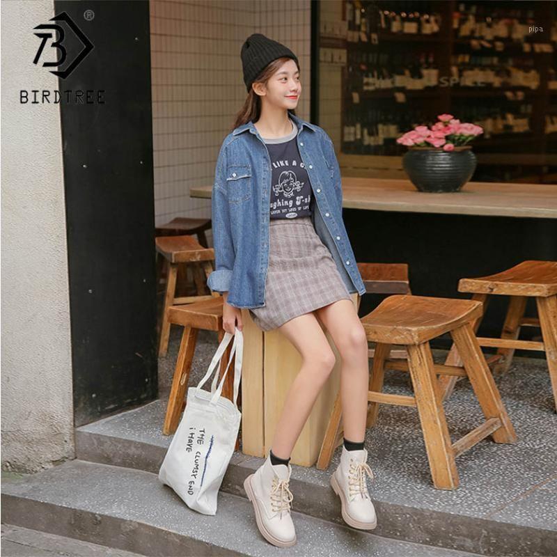 Frauen Solid Jeans Denim Jacke Single Breasted Down Collar Taschen Langarm Lose Mantel Casual Korean Stil C91320J1