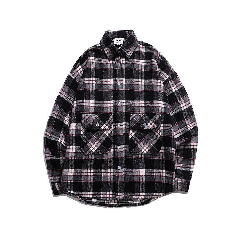 Jaquetas masculinas Primavera / Outono Grossa Manta Classic Correspondente Camisa Casaco Ins Homens Vintage Solto Casual Outwear / Dentro
