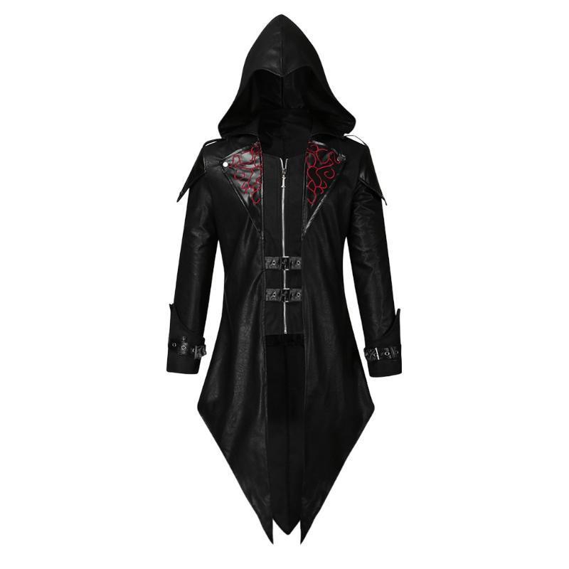 남성용 블랙 코트 트렌치 빈티지 코스프레 망 Tailcoat 자켓 고트 Steampunk Uniform Hoodie Praty Outwear Coats