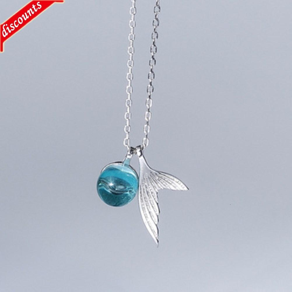 Новое моря Sapphire Mermaid пены ожерелье с покрытием S925 Whitebait хвост хвост хрустальный кулон женский клавиш цепь D492