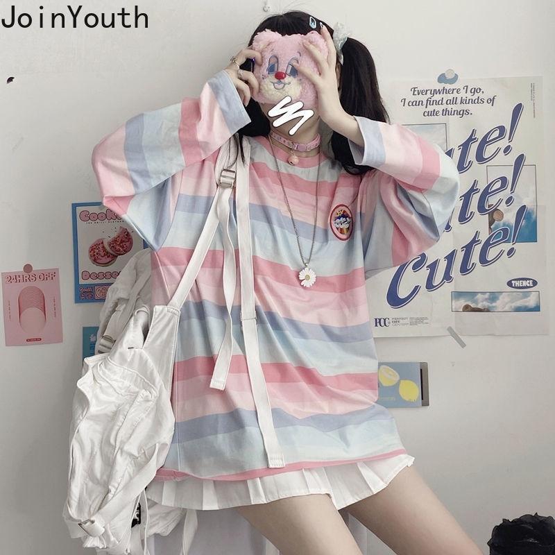Joinyouth Harajuku mujer camiseta de moda arco iris raya linda camisa japoneses sueltos camisetas sobredimensionadas dulce moda tops mujeres 7b798 210423