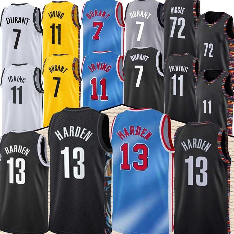 Brooklyns 13 Harden Jersey Kevin 7 Durant Kyrie 11 Basketball Irving Jersey Black 2021 City Blue Uniform New Season basketball jesreys top