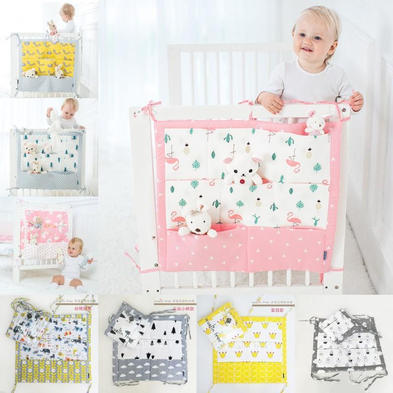 Brand New Baby Bed Bed Letto Appeso Sacchetto di stoccaggio Pannelli Banco Organizzatore Borsa da stoccaggio 60 * 50 cm Pocket pannolino giocattolo per culla Set di biancheria da letto flaming 1257 y2