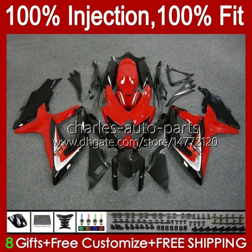Injection Mold For SUZUKI GSXR600 K8 GSX-R750 GSXR-600 red glossy blk GSXR-750 GSXR750 Bodywork 9HC.78 GSX-R600 2008 2009 2010 GSXR 600 750 CC 600CC 750CC 08 09 10 Fairing