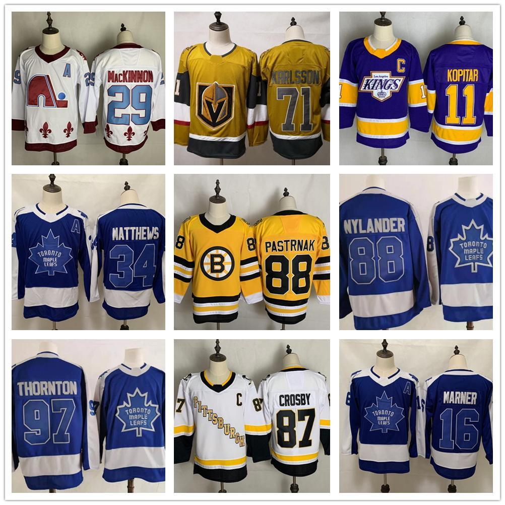 97 Thornton 88 Nylander 34 Matthews 16 Marner 11 Kopitar 99 Gretzky Best Sports Yakuda Hockey Jerseys 88 Pastrnak 79 Hart Dropshipping قبلت أفضل رياضة