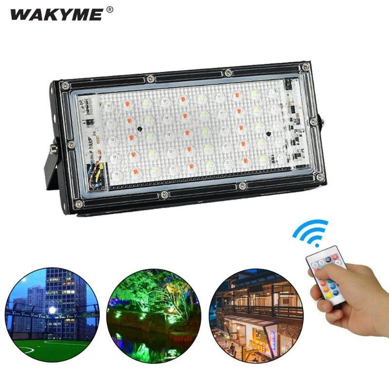 Proiettori Wakyme 50W LED Flood Light Light RGB Proiettore illuminazione per esterni Security Lampada da giardino Spotlight quadrato AC220V-240V Street Lights