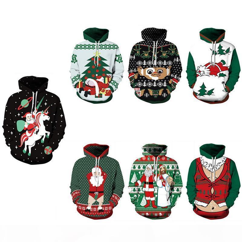 Unisex Streetwear Stampa 3D Stampa Natale Felpa con cappuccio Harajuku Couple Cappotto con cappuccio Moletom Homme Autunno Inverno Vestiti 2019 Nuovo