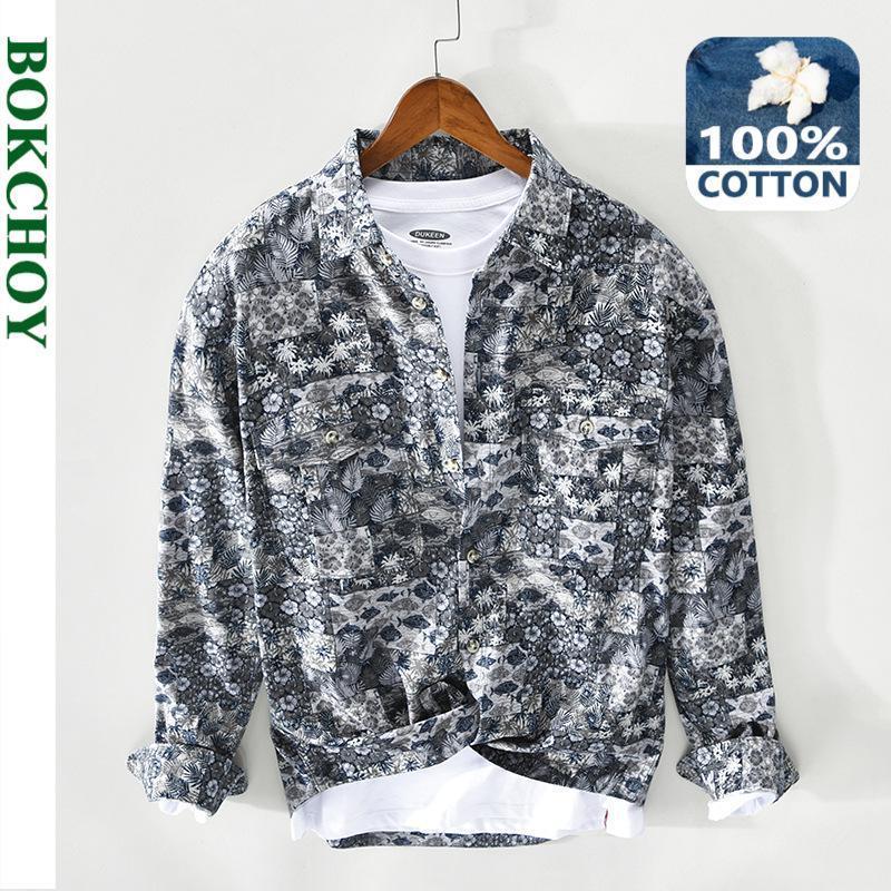 봄 남자 꽃 프린트 셔츠 코튼 긴 소매 버튼 캐주얼 코트 Z128 남자 셔츠
