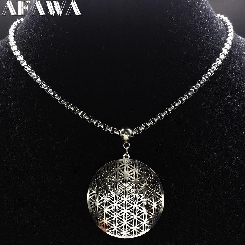 الأزياء الفولاذ المقاوم للصدأ قلادة كبيرة المرأة الفضة اللون بيان مجوهرات joyeria دي acero inoxidable n18177 قلادة القلائد