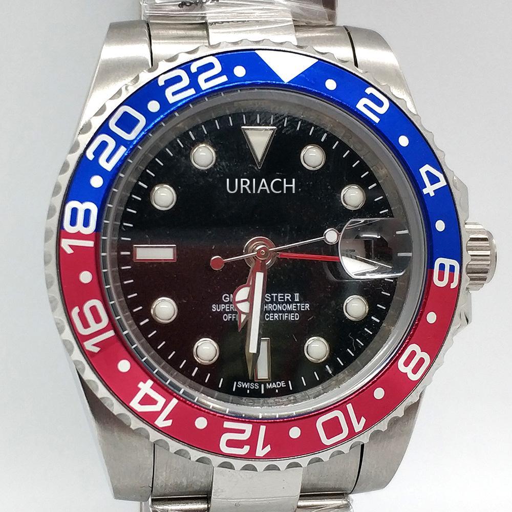 أعلى جودة ساعات رجالي بيبسي التلقائي 2813 حركة الميكانيكية ووتش الياقوت 40 ملليمتر حالة الفولاذ المقاوم للصدأ 316L السباحة للماء wristwatch montre de luxe