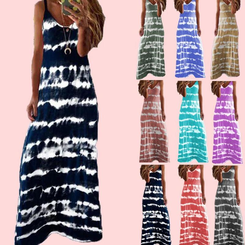 2021 Design Summer Fashion dress Sexy Spaghetti Ladies Striped Print Casual Long