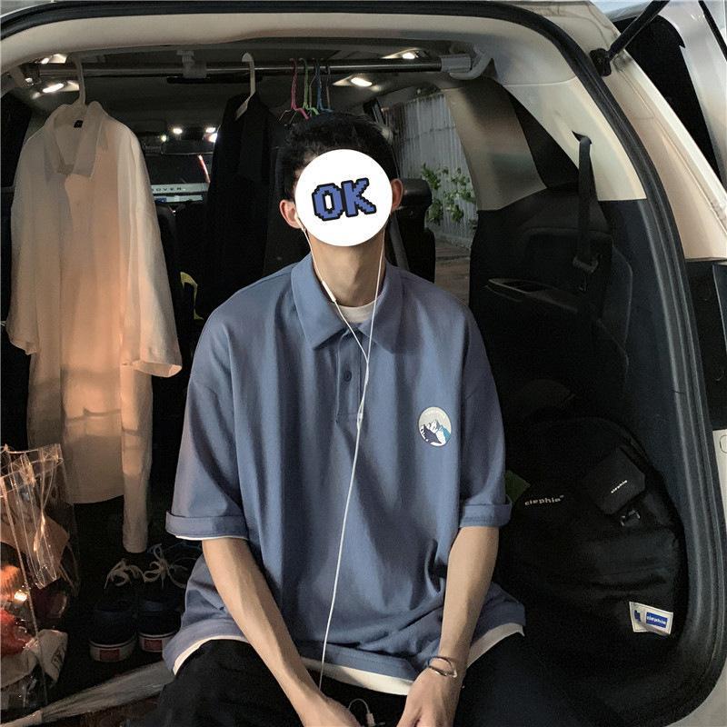 Factorykb1x мужские 2021 летний отворотный отворот поддельные две поло рубашки корейской свободной тенденции универсальная футболка с коротким рукавом пара