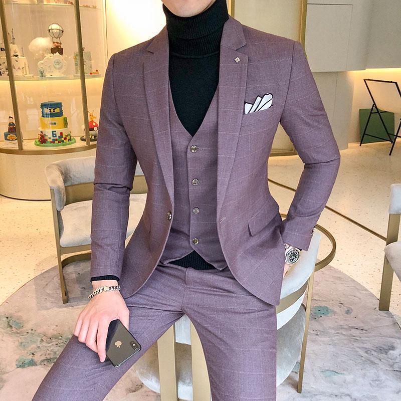 Luxus Männer Kleid Anzüge Britische 3-Stück Set Hochzeitsanzug 2021 Fall Herren Business Formale Plaid Slim Fit Herren Blazer