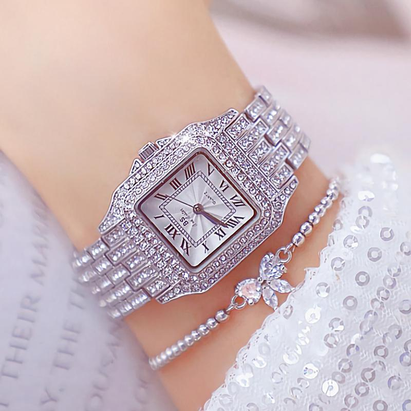 المعصم 2021 الأزياء الرومانية عدد السيدات ساعات المعصم الماس مربع امرأة الشظية الكوارتز المرأة