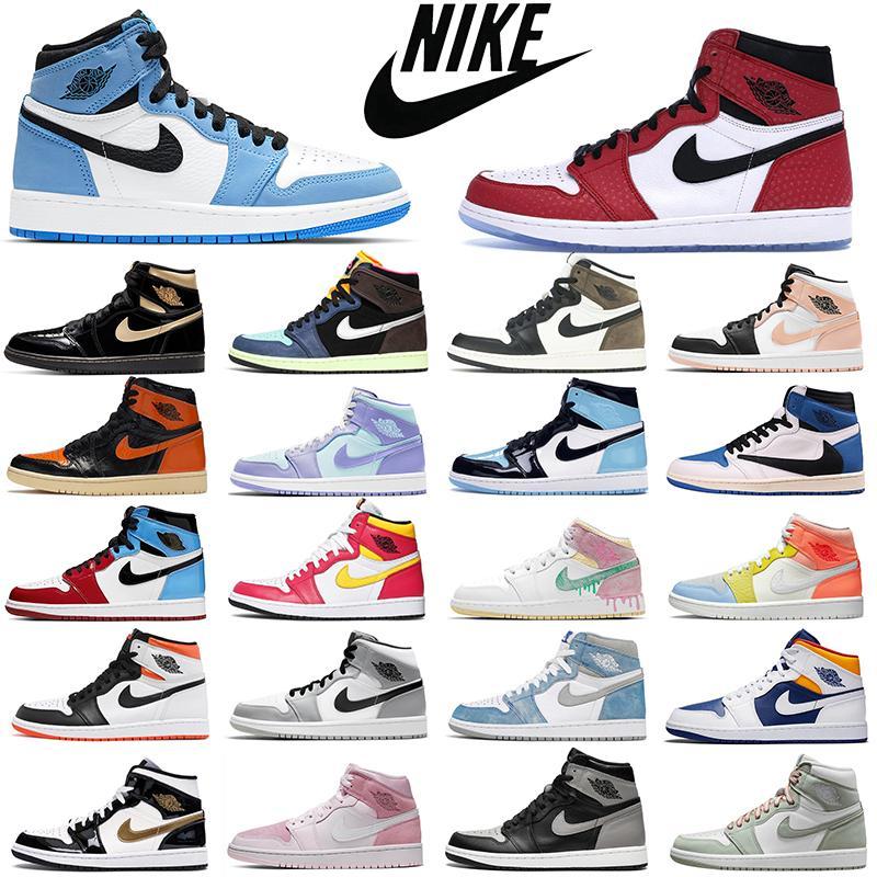 Новейшие моды ретро воздух jordan 1s мужские баскетбольные туфли aj1 jumpman 1 bred toe chicago запрещены тень женщины мужские тренеры спортивные кроссовки прогулки