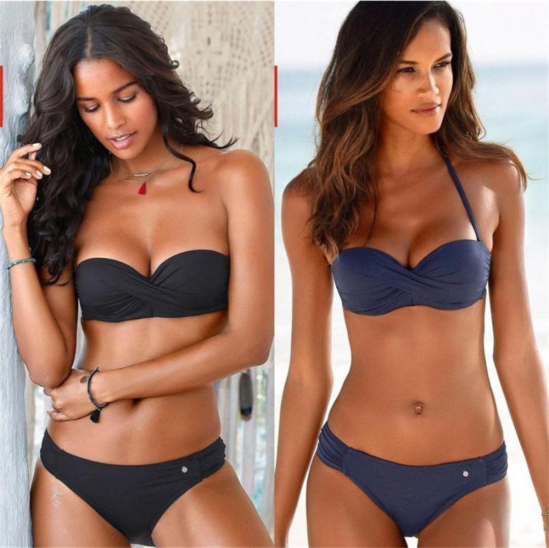 Women's Swimwear 2021 Sexy Bikinis Backless Stripe Bikini Set Bandage Push Up Women Halter Swimsuit Brazilian Bathing Suits Beachwear