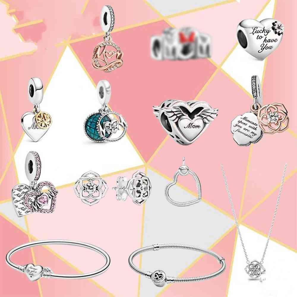2021 For Mother's Day Heart-shaped Hollow Angel Fashion Necklace And Two-color Rose Tree Family Charm Suitable Fit Pandora Original Bracelets