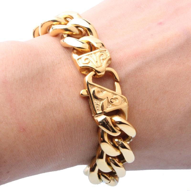 13/15mm Heavy Men's Bracelet Curb Cuban Link Gold Silver Color 316L Stainless Steel Wristband Male Jewelry Link, Chain