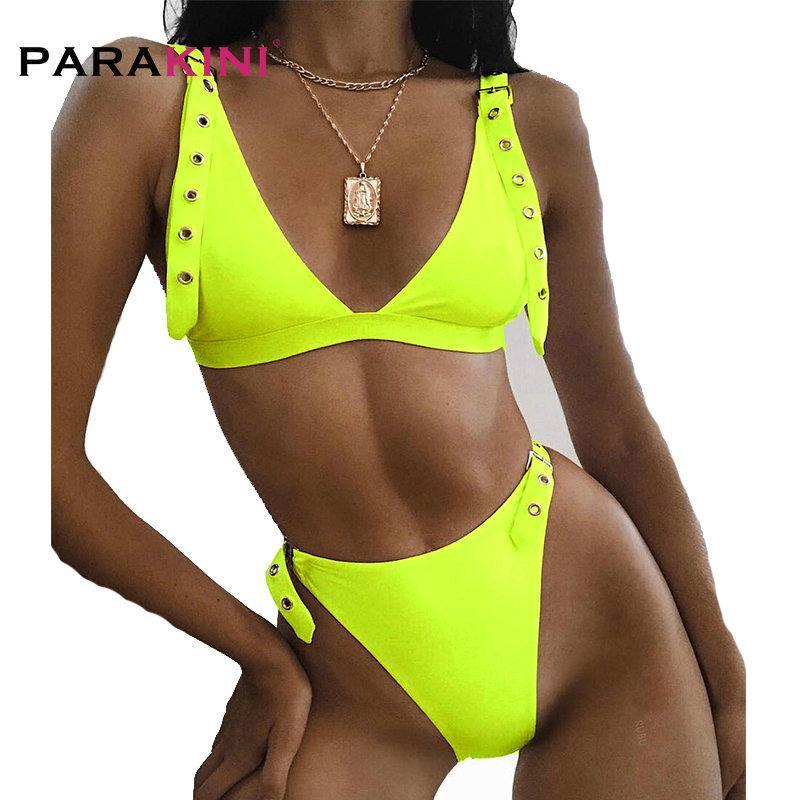 Traje de baño para mujer Paraakini Sexy Neon Colors Bikini Mujeres 2021 Push Up Cinturón Traje de baño Alto Cintura Set Baño Trajes de baño Verano Beach Desgaste