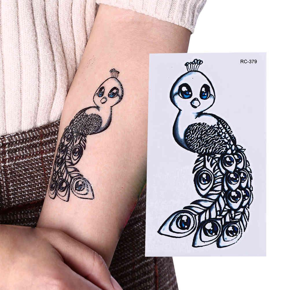 Wasserdicht Niedliche Mini Pfau Temporäre Tätowierung Aufkleber Arm Peacock Alte Schule Tatto Aufkleber Flash Tatoo Gefälschte Tätowierungen für Frauen