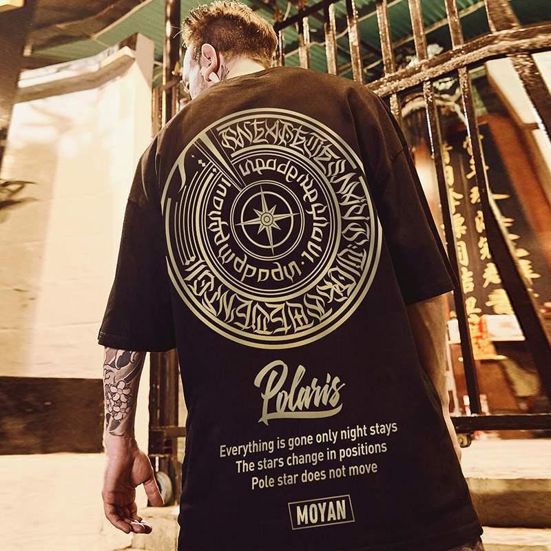 Men T-shirts Summer Tees Tops Oversize Streetwear Bronzing Printing Short Sleeve T-shirts Student Clothing Hip-hop