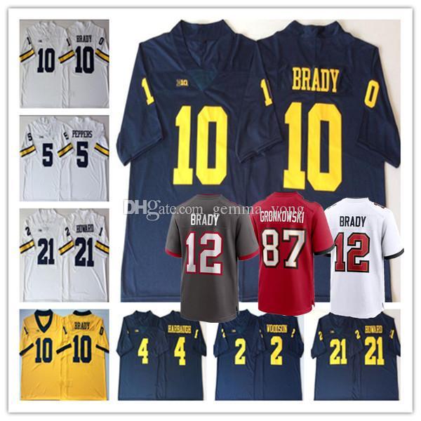 2021 Man Tom Brady Rob Gronkowski Jersey Football Michigan ...