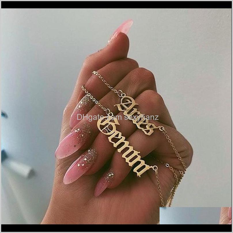 Pendant Necklaces & Pendants Jewelry Drop Delivery 2021 Zodiac Virgo Gemini Gold Horoscope Necklace Aquarius Cancer Leo Stainless Steel Capri