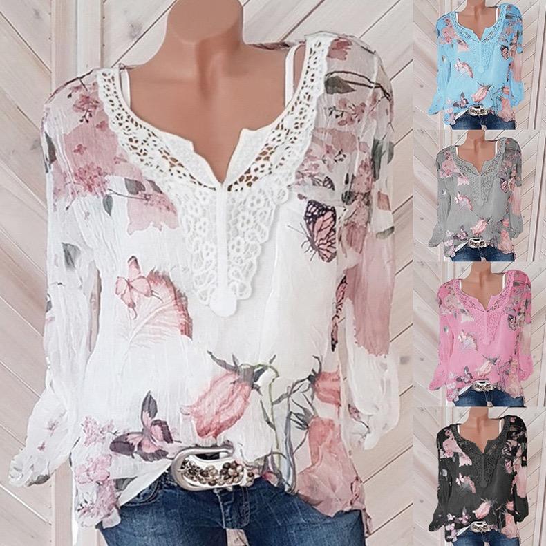 High Quality Women's T Shirt Designer Floral Printing Summer Beach Short Sleeve Chiffon V-neck Size S-4XL