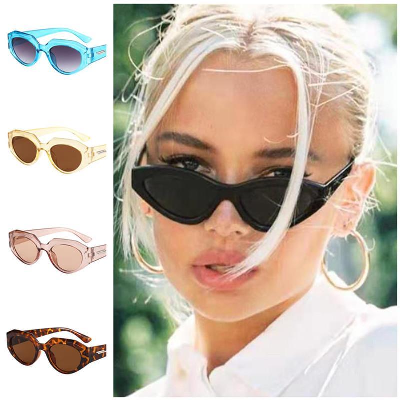 Bir Moda Kadın Erkek Güneş Gözlüğü Düzensiz Çerçeve Güneş Gözlükleri Unisex Retro Adumbral Anti-UV Gözlükler Kedi Göz Gözlük A ++