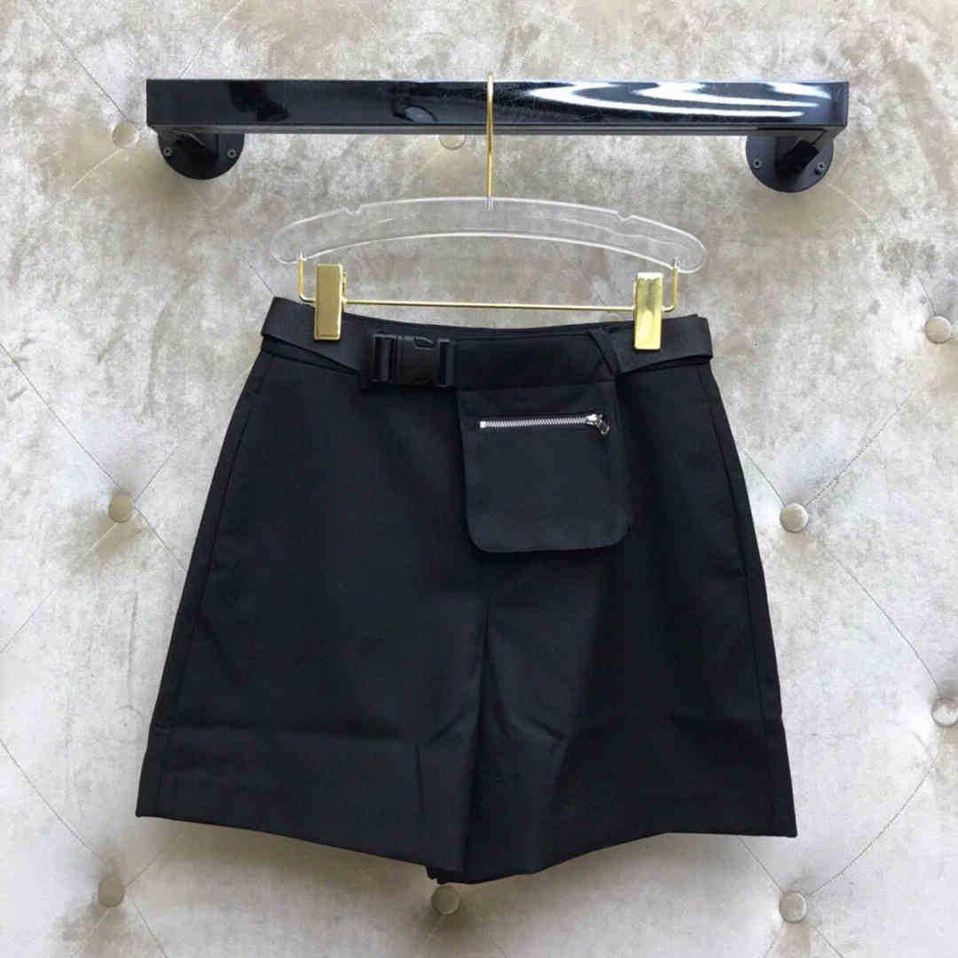 Damen Shorts Shorts High-End-Luxus Gürtel Tasche Dekoration Casual Frauen Preppy Style Streetwear Solide Farbe Reißverschluss Hohe Taille S A2YO
