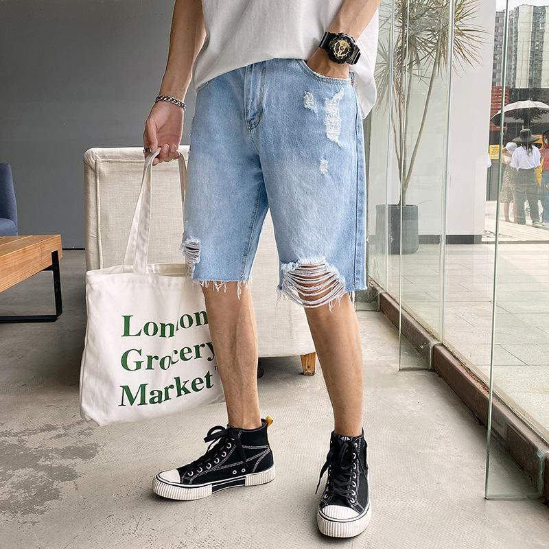 Men's Retro torn jeans, street clothes with holes, tight, famous brand, new style in summer 2021 J0524