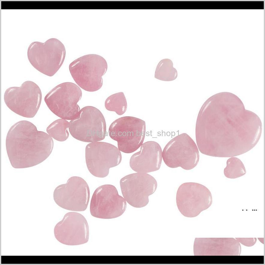 Arts And Arts Crafts Gifts Home Garden Drop Delivery Gemstones Natural Rose Quartz Crystals Puffy Beautiful Heart Shaped Stone Love Healing C