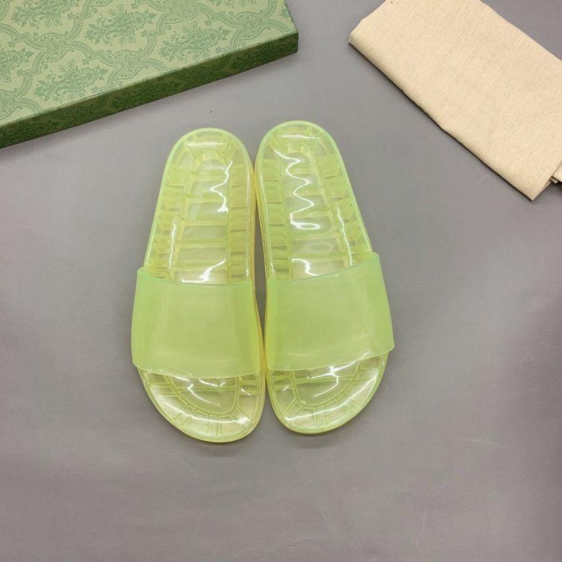 Kadınlar Düz Jöle Terlik Sandalet Slaytlar Moda Yaz Erkekler Plaj Şeffaf Kristal Kauçuk Terlik Üst Tasarımcı Bayanlar Meyve Mektubu Slayt Çiftler Ayakkabı Size35-46