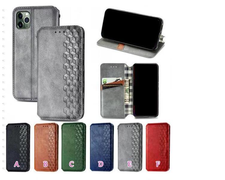 Casos de carteira de couro de cubo 3D para Samsung A51 A71 A81 A91 A31 S10 S20 Ultra Plus Square Sparkle Sucreca Magnética Fechamento Suporte Flip Cover Bolsa