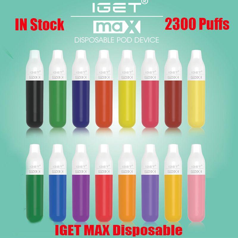 Оригинальные IGET Max одноразовые устройства для устройств устройства E-сигарета 2300 слойки 8 мл префилированный картридж 1100 мАч батарея Vape Stick Pen vs Shion King Plus XXL 100% подлинный