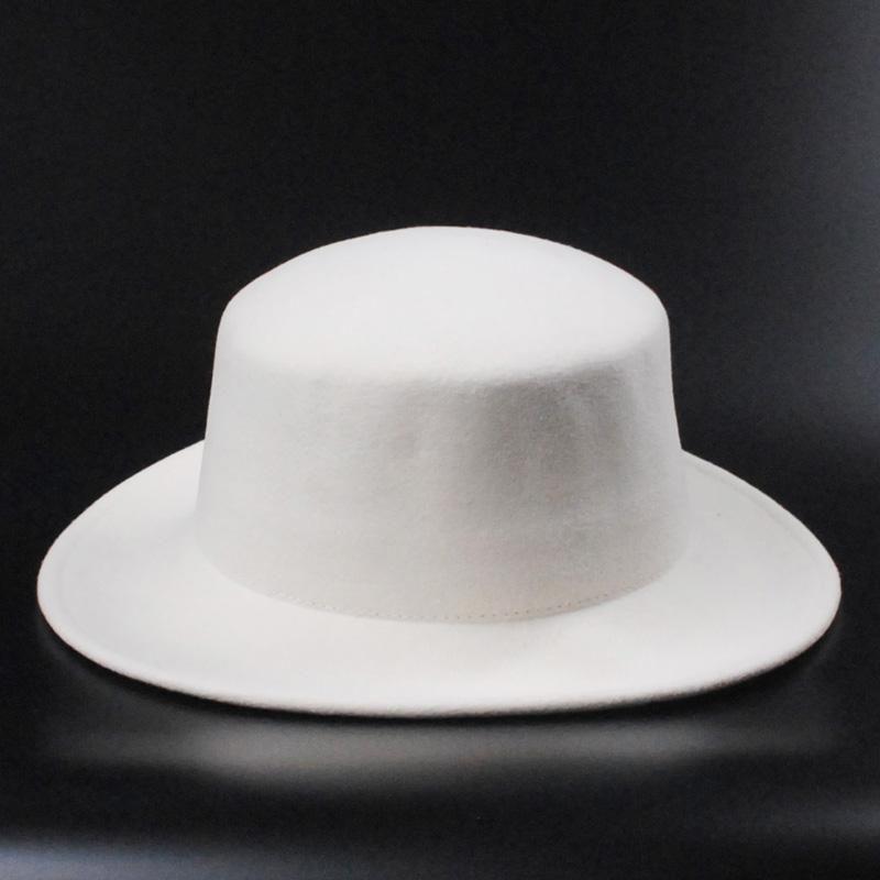 가을 겨울 순수 양모 플랫 페도라 모자 화이트 모자 여성 남자는 신부 와이드 레드에 대 한 플로피 파나마를 느꼈다